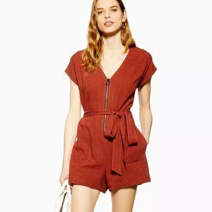 TopShop NWT Brown Zip Romper with Linen US10